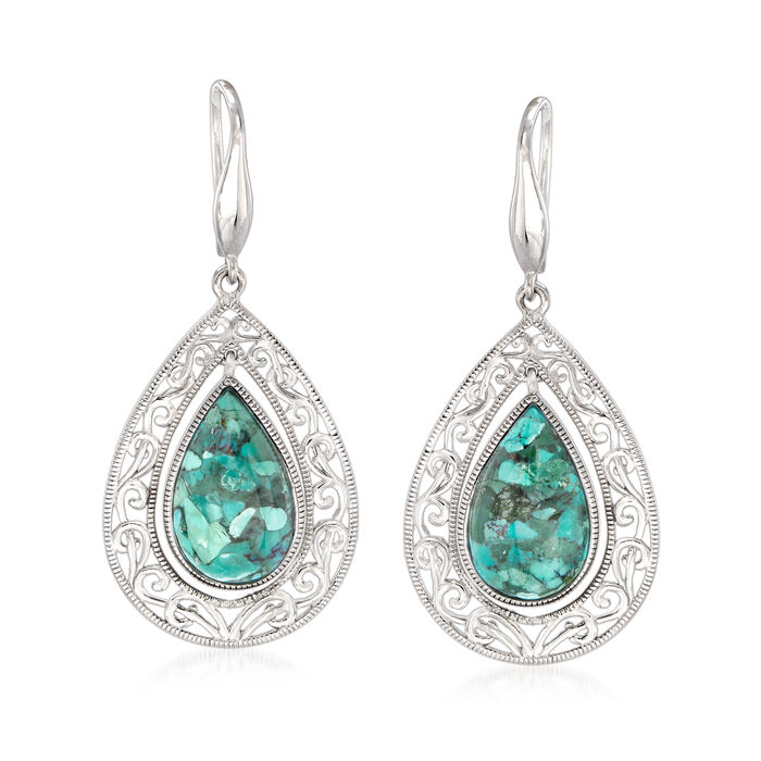 Pear-Shaped Turquoise Earrings in Sterling Silver, , default