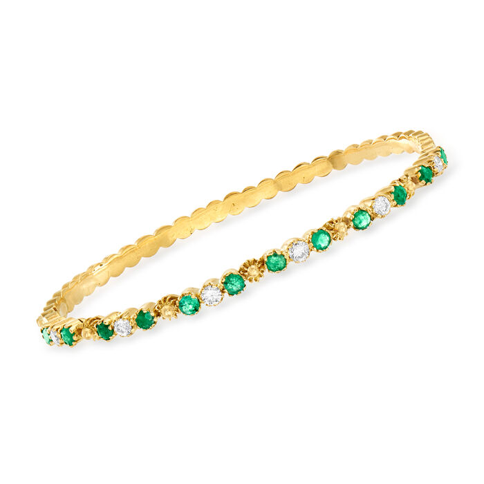"""C. 1980 Vintage 1.40 ct. t.w. Emerald and .60 ct. t.w. Diamond Bangle Bracelet in 18kt Yellow Gold. 7"""", , default"""