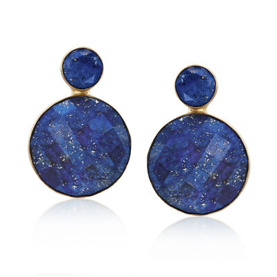 Lapis Double Drop Earrings in 14kt Gold Over Sterling