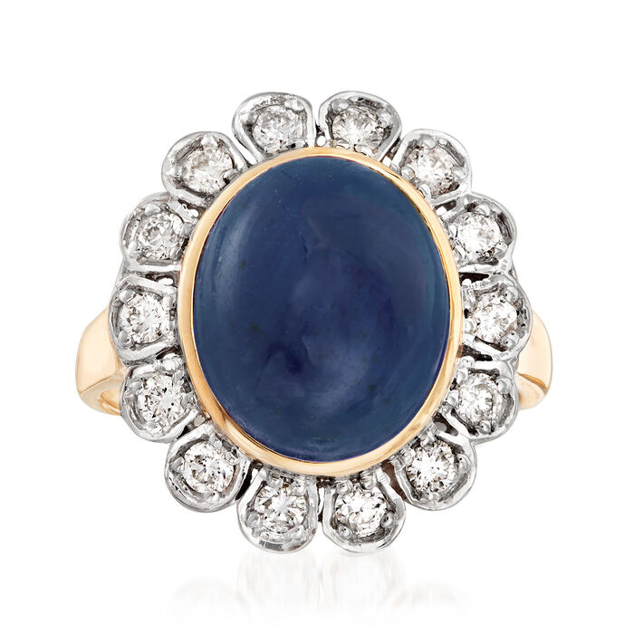 7.50 Carat Sapphire and .48 ct. t.w. Diamond Halo Ring in 14kt Yellow Gold, , default
