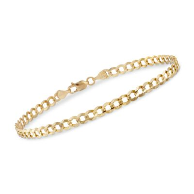 Men's 4.7mm 14kt Yellow Gold Miami Cuban Link Chain Bracelet, , default