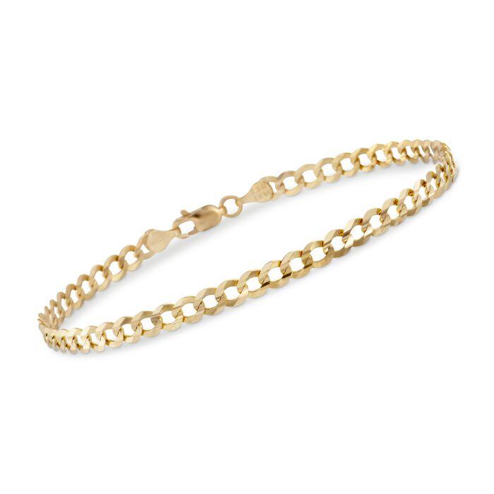 "Men's 4.7mm 14kt Yellow Gold Miami Cuban Link Chain Bracelet. 8.5"""