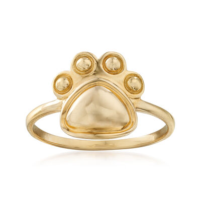 14kt Yellow Gold Paw Print Ring, , default
