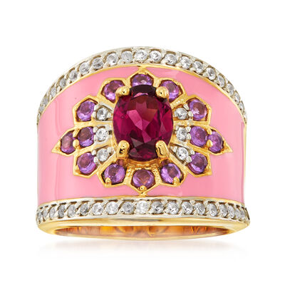2.20 ct. t.w. Multi-Gemstone Flower Ring with Pink Enamel in 18kt Gold Over Sterling