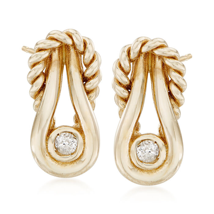 "Phillip Gavriel ""Italian Cable"" 14kt Yellow Gold Earrings with Diamond Accents"