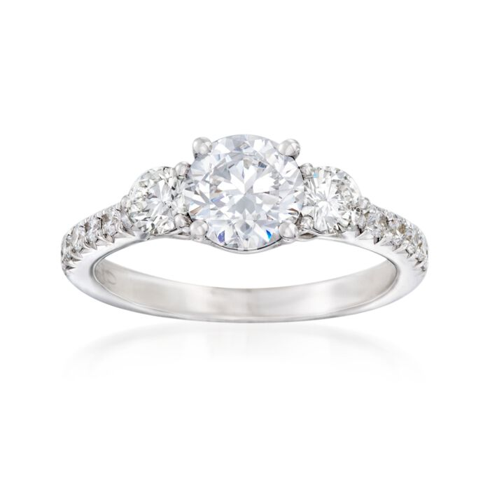 .68 ct. t.w. Diamond Three-Stone Engagement Ring Setting in 14kt White Gold, , default
