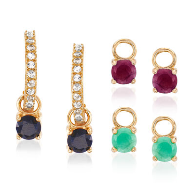Interchangeable Jewelry Set: Multi-Gem Drop Earrings in 18kt Gold Over Sterling, , default