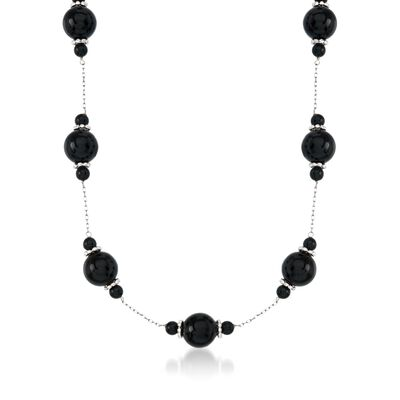 4-10mm Black Onyx Bead Station Necklace in Sterling Silver, , default