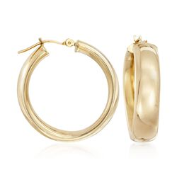 "14kt Yellow Gold Round Hoop Earrings. 1"", , default"