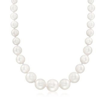 """8-16mm Shell Pearl Necklace With Sterling Silver. 18"""", , default"""