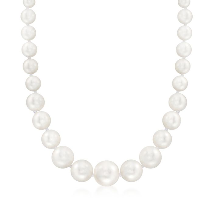 "8-16mm Shell Pearl Necklace With Sterling Silver. 18"", , default"