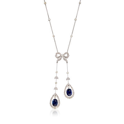 C. 2000 Vintage 2.60 ct. t.w. Sapphire and 1.40 ct. t.w. Diamond Bow Pendant Necklace in 18kt White Gold, , default