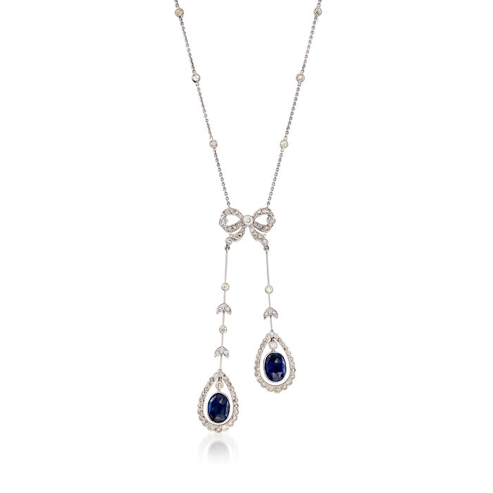 """C. 2000 Vintage 2.60 ct. t.w. Sapphire and 1.40 ct. t.w. Diamond Bow Pendant Necklace in 18kt White Gold. 16"""""""