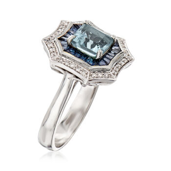 1.10 Carat Aquamarine and 2.90 ct. t.w. Sapphire Ring with Diamonds in 14kt White Gold, , default