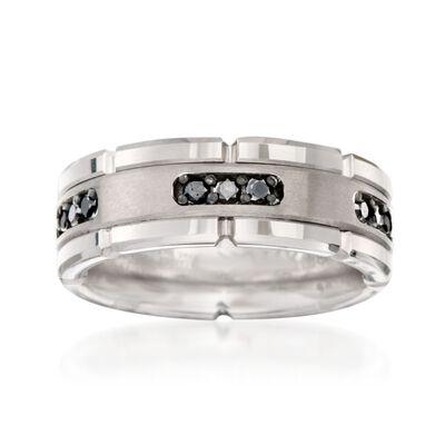 Men's .30 ct. t.w. Black Diamond Wedding Ring in Tungsten Carbide, , default