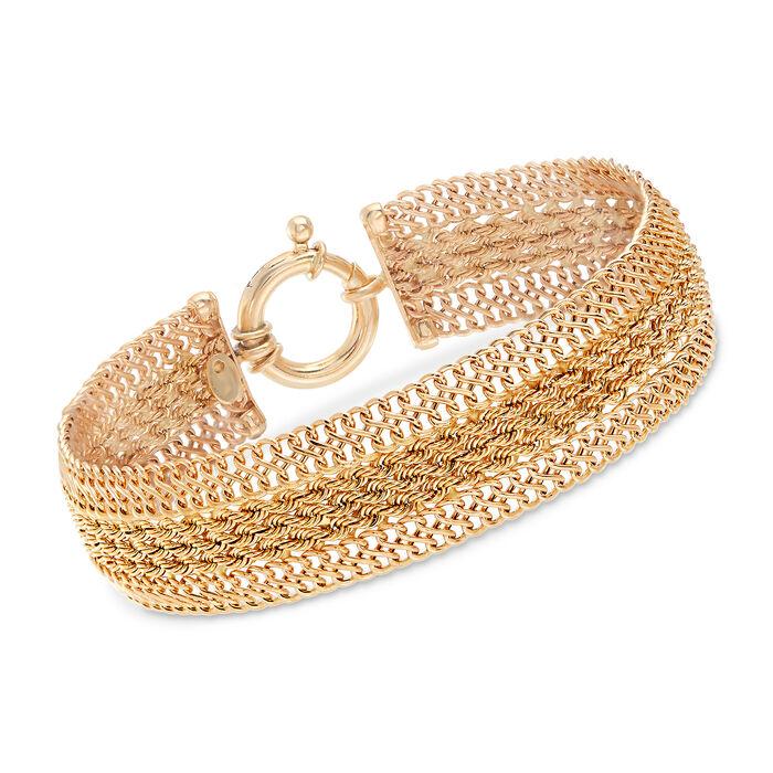 "Italian 14kt Yellow Gold Triple-Strand Rope Bracelet. 7"", , default"