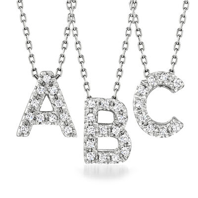 Diamond-Accented Initial Necklace in 14kt White Gold