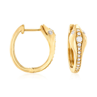.30 ct. t.w. Diamond Snake Hoop Earrings in 18kt Gold Over Sterling Silver, , default