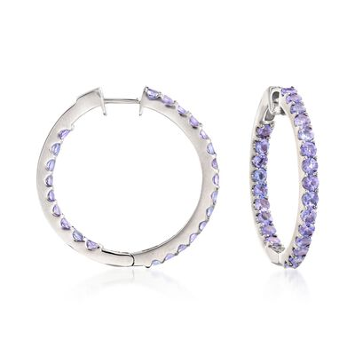 3.30 ct. t.w. Tanzanite Inside-Outside Hoop Earrings in Sterling Silver, , default