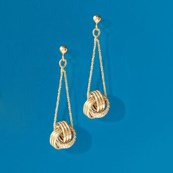 Italian 18kt Yellow Gold Textured and Polished Love Knot Drop Earrings