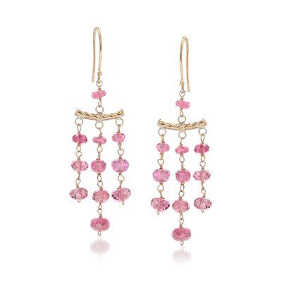9.00 ct. t.w. Pink Tourmaline Chandelier-Style Earrings in 14kt Yellow Gold, , default