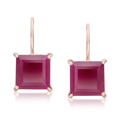 4.60 ct. t.w. Ruby Drop Earrings in 14kt Rose Gold, , default