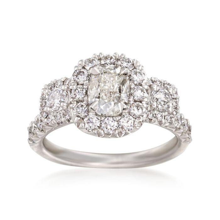 Henri Daussi 2.12 ct. t.w. Diamond Three-Stone Engagement Ring in 18kt White Gold, , default