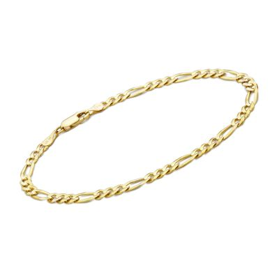 Men's 3.8mm 14kt Yellow Gold Figaro Chain Bracelet, , default