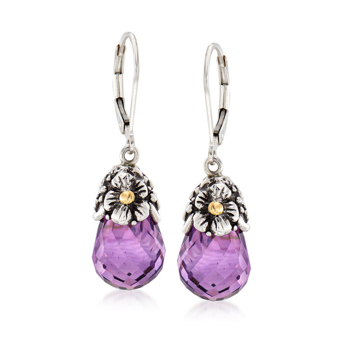 9.50 ct. t.w. Amethyst Floral Drop Earrings in Sterling Silver with 18kt Yellow Gold Leverback Earrings, , default