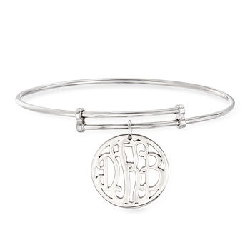 Sterling Silver Personalized Monogram Bangle Bracelet