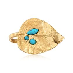 Turquoise and 18kt Gold Over Sterling Leaf Ring, , default