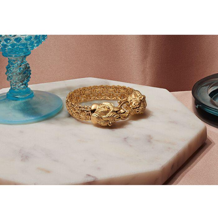 Italian 14kt Yellow Gold Double Lion Head Byzantine Bracelet