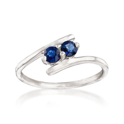 .40 ct. t.w. Sapphire Two-Stone Ring in 14kt White Gold, , default