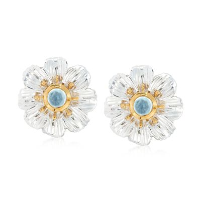 2.20 ct. t.w. Bezel-Set Blue Topaz Flower Earrings in Two-Tone Sterling Silver, , default