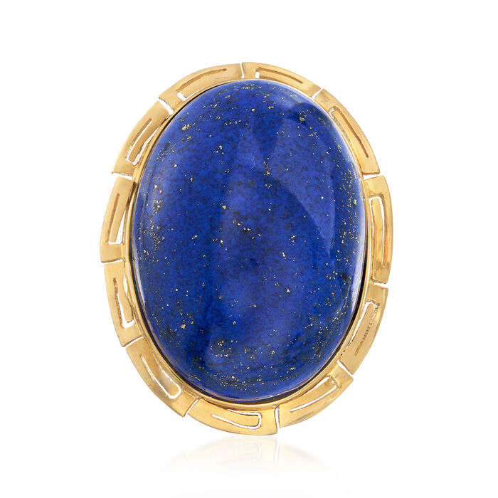 C. 1960 Vintage Oval Lapis Ring in 14kt Yellow Gold. Size 7
