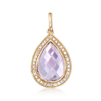 3.60 Carat Amethyst and .19 ct. t.w. Diamond Pendant in 14kt Yellow Gold , , default