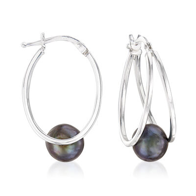 8-9mm Black Cultured Pearl Double Hoop Earrings in Sterling Silver, , default