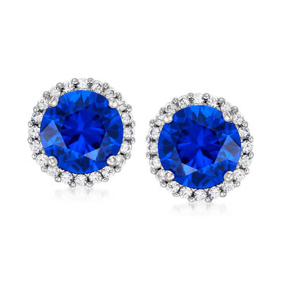 3.80 ct. t.w. Simulated Sapphire and .30 ct. t.w. CZ Earrings in Sterling Silver