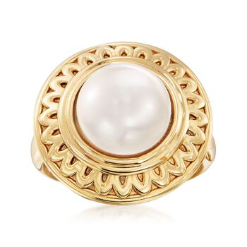 10.5-11 mm Cultured Button Pearl Ring in 14kt Yellow Gold. Size 9, , default