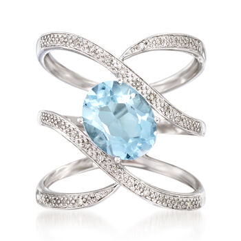 2.80 Carat Blue Topaz and .10 ct. t.w. Diamond Open Ring in Sterling Silver, , default