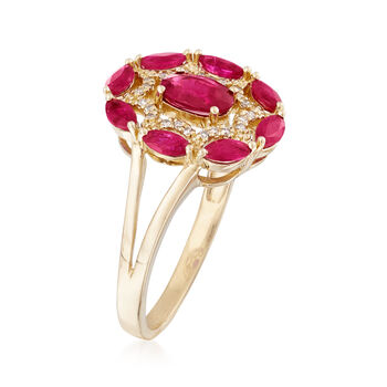 1.40 ct. t.w. Ruby Ring with Diamond Accents in 14kt Yellow Gold