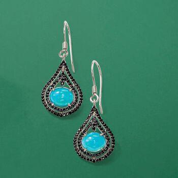 Ethiopian Blue Opal and Black Spinel Drop Earrings in Sterling Silver