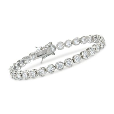 13.50 ct. t.w. CZ Tennis Bracelet in Sterling Silver, , default