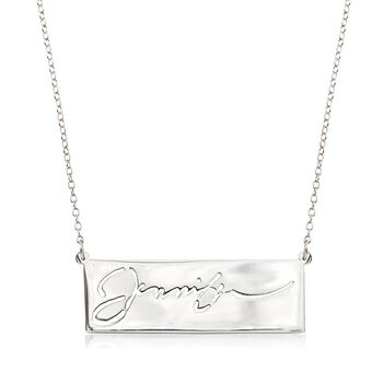 "Sterling Silver Cutout Nameplate Necklace. 19.75"", , default"