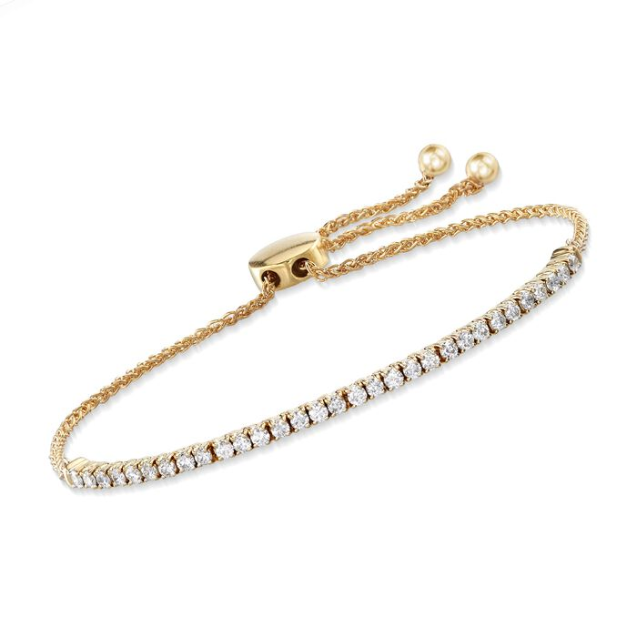 1.00 ct. t.w. Diamond Bolo Bracelet in 14kt Yellow Gold, , default
