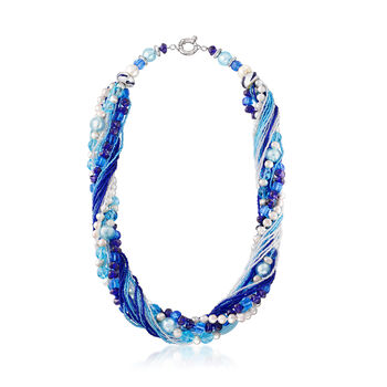 Italian Multicolored Murano Bead and 6mm & 10mm Cultured Pearl Torsade Necklace in Sterling Silver, , default