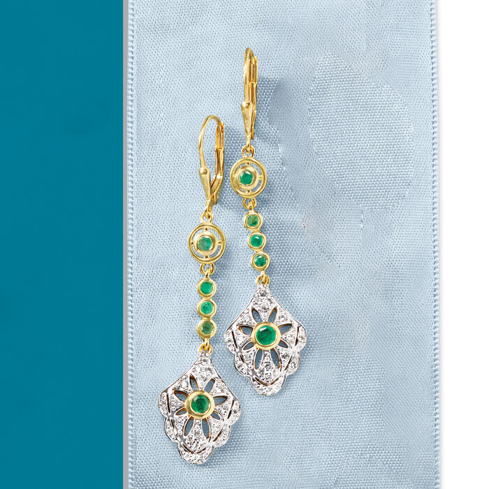 .60 ct. t.w. Emerald and .40 ct. t.w. White Topaz Drop Earrings in 18kt Gold Over Sterling