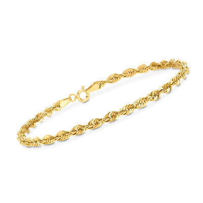 14kt Yellow Gold 3.2mm Rope Chain Bracelet