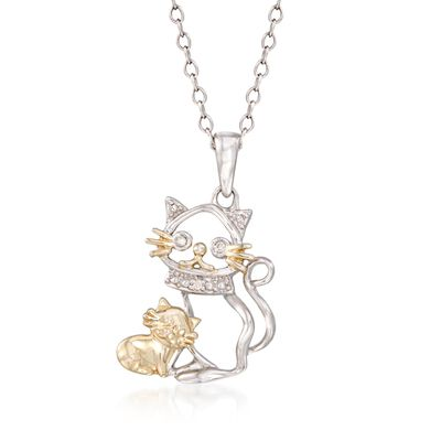 Sterling Silver and 18kt Gold Over Sterling Cat and Kitten Pendant Necklace with Diamond Accents, , default