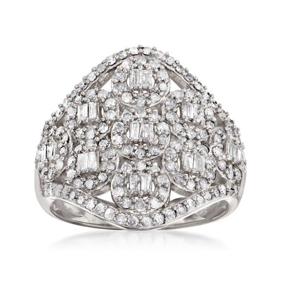 1.00 ct. t.w. Diamond Cluster Ring in Sterling Silver